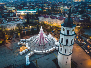 Drone aerial view of Vilnius Christmas tree