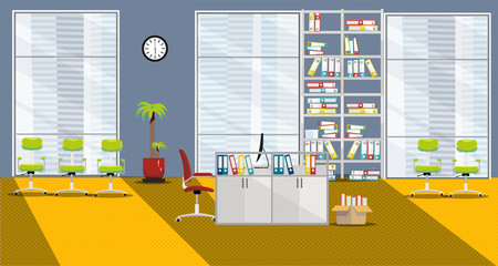 flat vector illustration of modern cabinet interior with 1 table and 3 large windows in skyscraper in orange-gray colors. Open space with palm tree, shelving for folders, sun ight, chairs for visitors