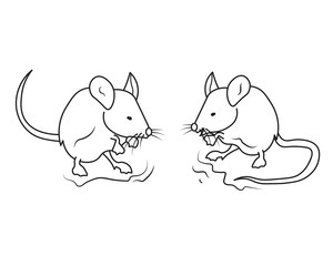 Two Gentle Mouse Talking Each Other Line Art