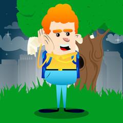 Schoolboy holds both hand at his ear, listening. Vector cartoon character illustration.