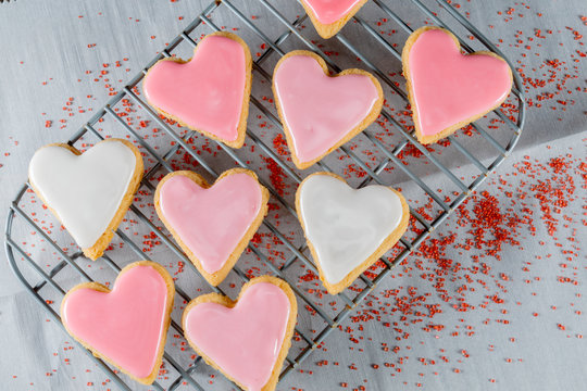 Small Heart Cookies On Cooling Rack