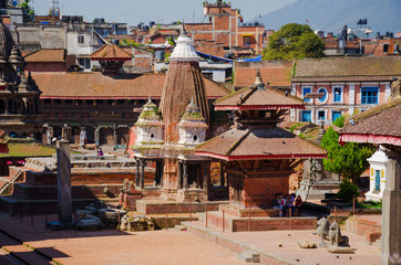 Patan Durbar Square in Kathmandu, Nepal, with the Royal Palace and buddhist temples.