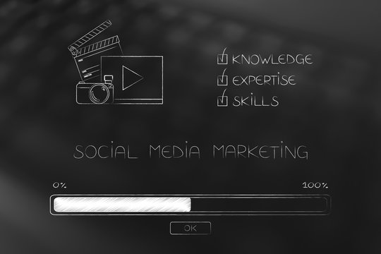 knowledge expertise and skills progress bar loading and  captions next to social media marketing icon