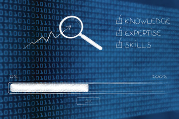knowledge expertise and skills progress bar loading and  captions next to magnifying glass analysing stats