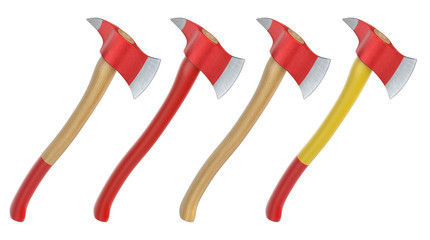 Firefighter axes with different handles isolated on white background