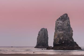 Pink Sunrise Over Haystack Rock