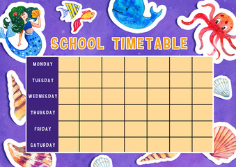 Template of school timetable with days of week and free spaces for notes. Hand drawn watercolor Illustration with cartoon sea animals