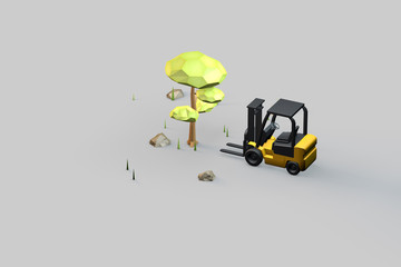 Forklift and green plants