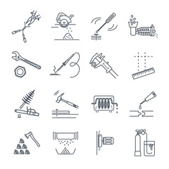 set of thin line icons tools and equipment, adjustable wrench