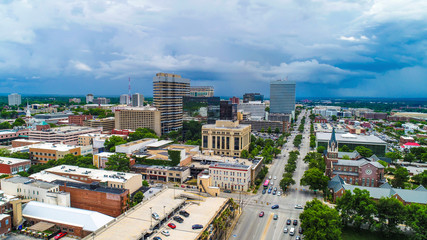 Drone Aerial of Downtown Columbia South Carolina SC Skyline