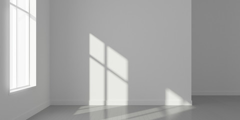 Stimulate image of empty white room and wood plank floor with sun light cast window shadow on the wall,Perspective of minimal design architecture.3d render. Wall mural