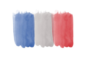 Watercolor France French flag