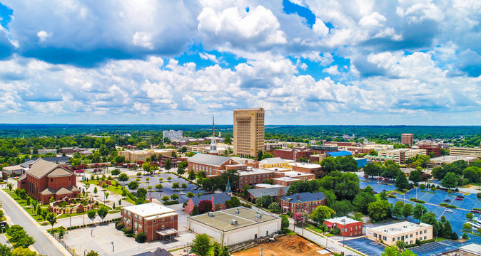 Drone Aerial of Downtown Spartanburg South Carolina SC Skyline