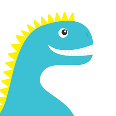 Dinosaur face body. Cute cartoon funny dino baby character. Flat design. Blue and yellow color. White background. Isolated