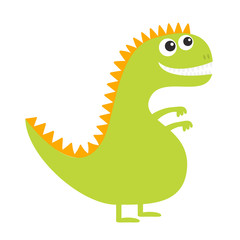 Dinosaur isolated on white background. Cute cartoon funny dino baby character. Flat design. Green and orange color.