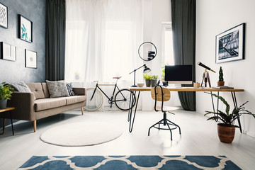 Plant and wooden chair at desk in bright apartment interior with brown sofa and bike. Real photo