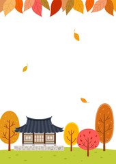 Autumn forest with Traditional Korean house.Mid Autumn Festival(Chuseok) Background
