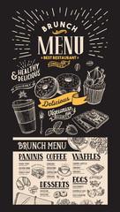 Brunch restaurant menu. Dessert food flyer for cafe. Design template with vintage hand-drawn illustrations.