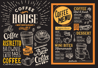 Coffee restaurant menu. Vector drink flyer for bar and cafe. Design template on blackboard background with vintage hand-drawn food illustrations.