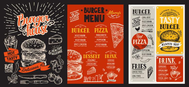 Set of burger menus for restaurant. Vector food flyer for bar and cafe. Design template with vintage hand-drawn illustrations.