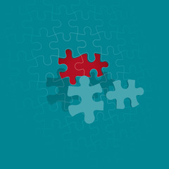 Trou de 2 pièces de puzzle sur un mur de puzzle en perspective - le motif du puzzle est dans le fichier et les couleurs modifiables