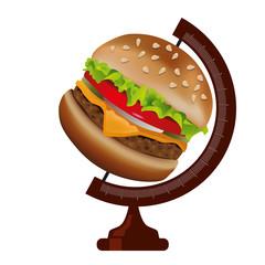 hamburger - fastfood - monde - alimentation - concept - nourriture - manger - santé - cuisine