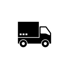 Fast Shipping Delivery Truck. Flat Vector Icon illustration. Simple black symbol on white background. Fast Shipping Delivery Truck sign design template for web and mobile UI element