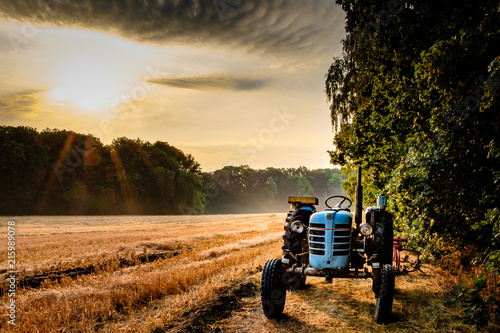 Wall mural Old tractor in a field on a summer morning with the sun coming up