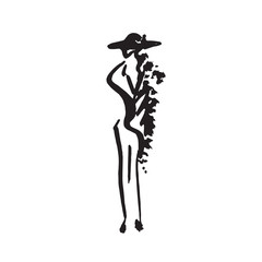 Abstract free model in hat, hand drawn ink  doodle, sketch, outline black and white vector fashion illustration