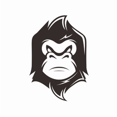 Mascot Character Monkey Logo Vector Silhouette Design Concept