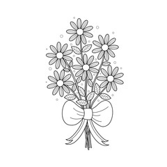 Coloring book page of daisy bouqute for adult. Handdrawn. Vector illustration.