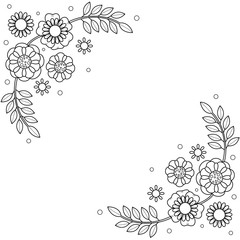 Flowers frame coloring book for adult. doodle style.vector illustration.