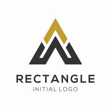 Rectangle Logo Design Concept, Letter A and W Logo Vector Template