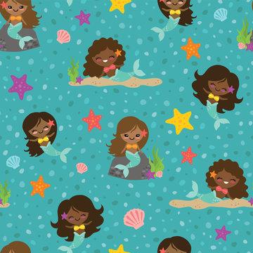 Vector Teal People of Color Mermaid Girls Seamless Pattern Background