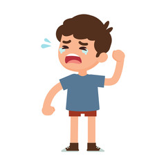 Cute little boy crying, vector illustration.