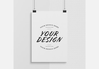 Isolated Vertical Hanging Poster Mockup