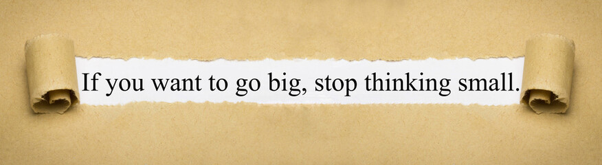 If you want to go big, stop thinking small.