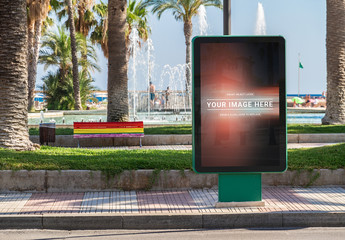 Billboard Advertisement on Beach Mockup