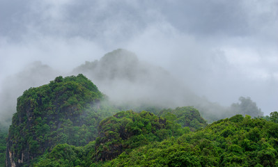 green hill mountain and fog with cloud