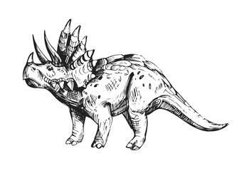 Sketch of dinosaur. Hand drawn illustration converted to vector