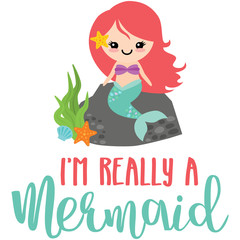 Really a Mermaid Phrase Illustration