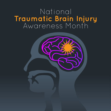 National Traumatic Brain Injury Awareness Month vector logo icon illustration