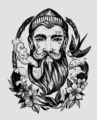 Head of a man with a beard and a smoking pipe. Сharacter of a sailor. Tattoo or print. Hand drawn illustration converted to vector