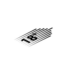 18 age warning stamp and speed lines, Vector illustration. Flat design