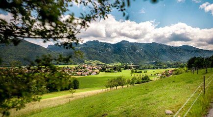 Panoramic View over Aschau im Chiemgau from above in summer on a beautiful day
