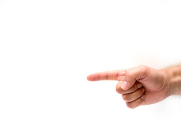 Hand simulating pressing a button or something else with index finger extended, on a white background.