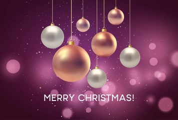 Christmas blurred pink background with bauble. Vector illustration