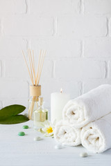 Products for body care, spa and hygiene on a white background