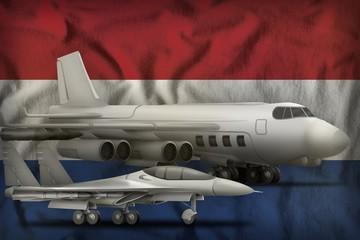 Netherlands air forces concept on the state flag background. 3d Illustration