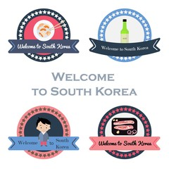 Korean welcome stickers set in flat style.